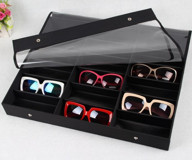 Sunglasses Box Black Wood 18Grids - The JfJ