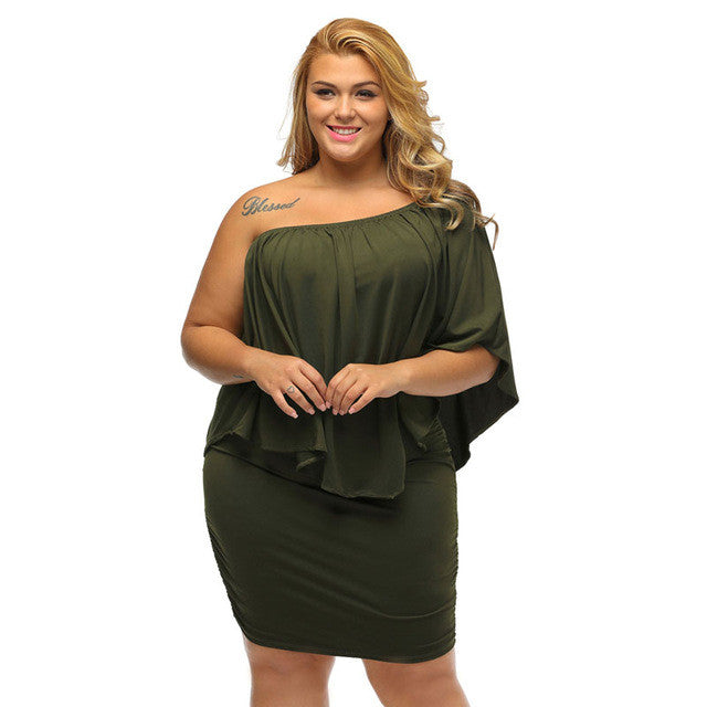 Off Shoulder Ruffle Mini Dress (Plus Size) - The JfJ