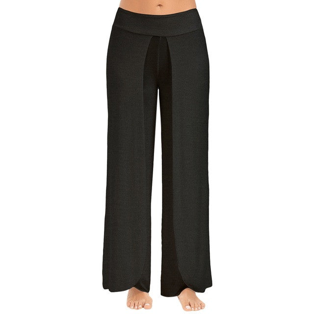 High Split Mid Waist Wide Leg Flowy Pants(Plus Size) - The JfJ