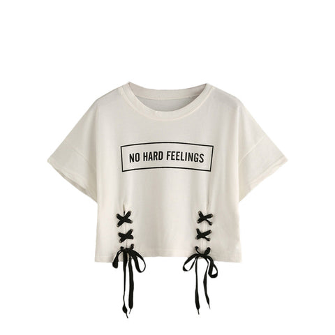Lace-Up Crop T-shirt - The JfJ
