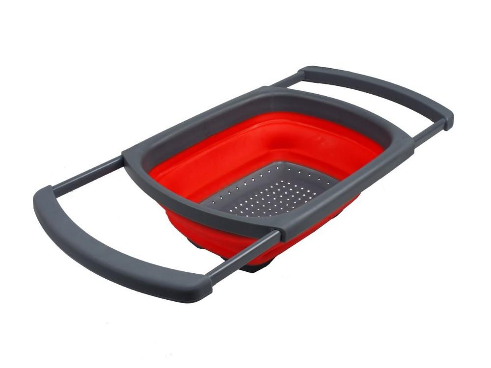 Kitchen Collapsible Silicone Colander Strainer Expands to 24 Over the Sink Basket Cooking Water Drainage - The JfJ