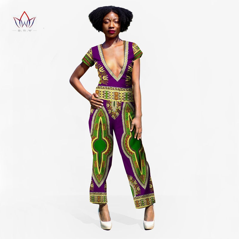 Deep V Short Sleeve  African Print Jumpsuit - The JfJ