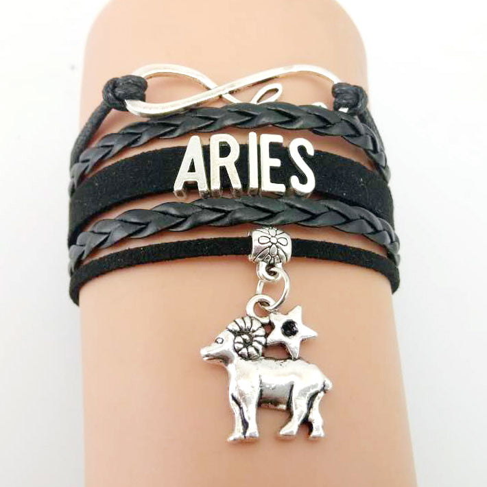 12 Zodiac Signs Handmade Leather Bracelet - The JfJ
