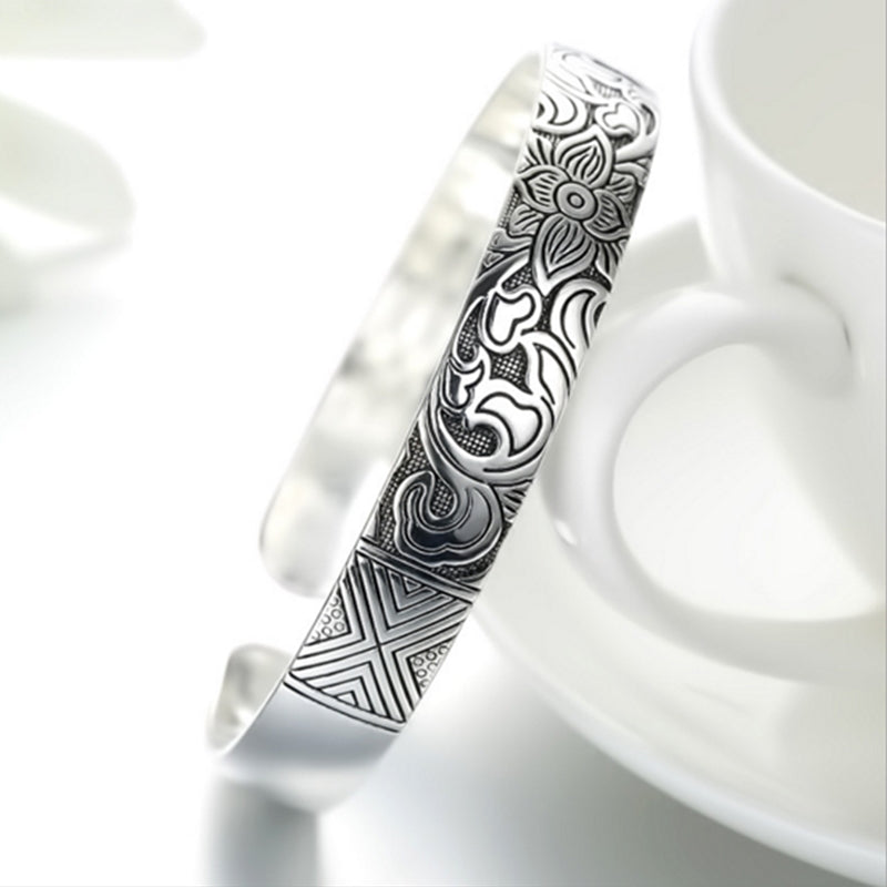 Lotus Thai Silver Plated Bangle - The JfJ