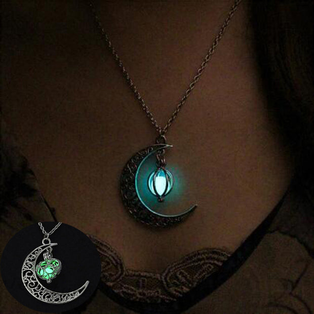 Glowing Moon Necklace Charm Jewelry,Silver Plated - The JfJ