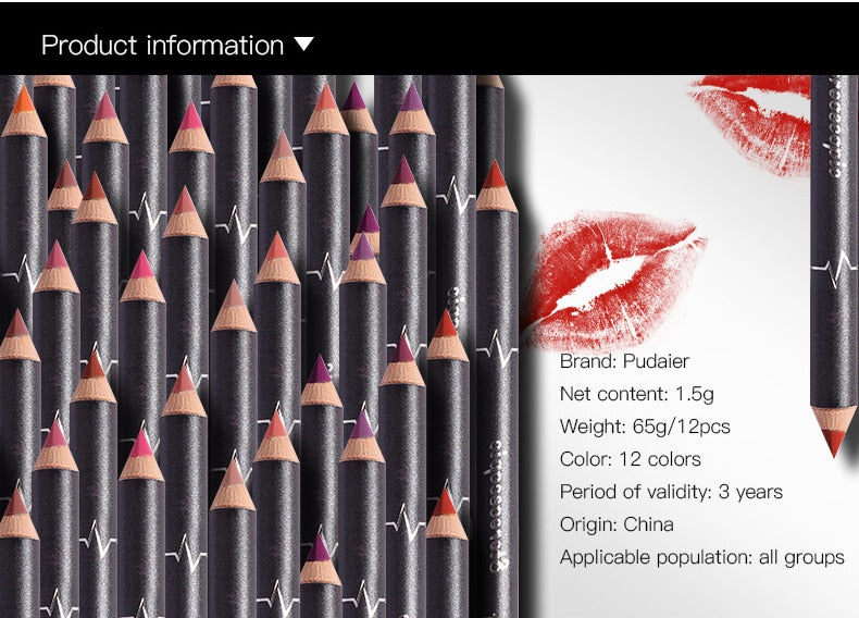 12 Colors/Set Sexy Matte Lipliner - The JfJ