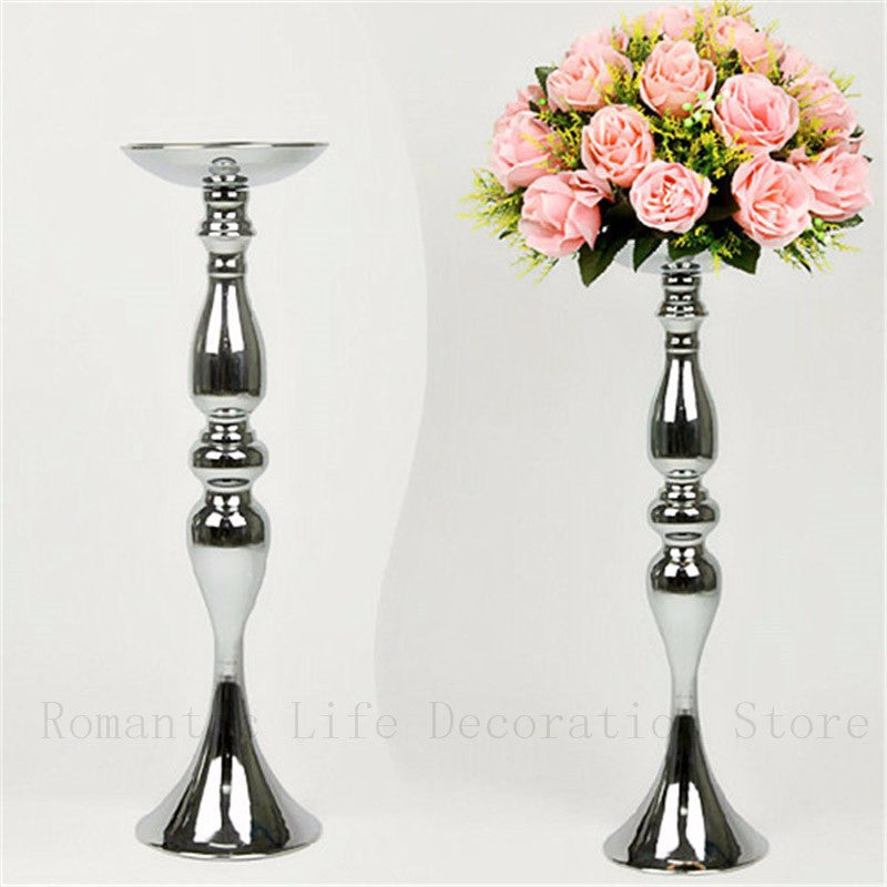 Silver Metal Candle Holders 50cm/20'' Stand Flowers Vase Candlestick - The JfJ