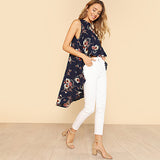 Flower Print High Low Sleeveless Top Multicolor 2018 Summer Elegant Blouse Women Round Neck Sleeveless Vacation Blouse - JfJ