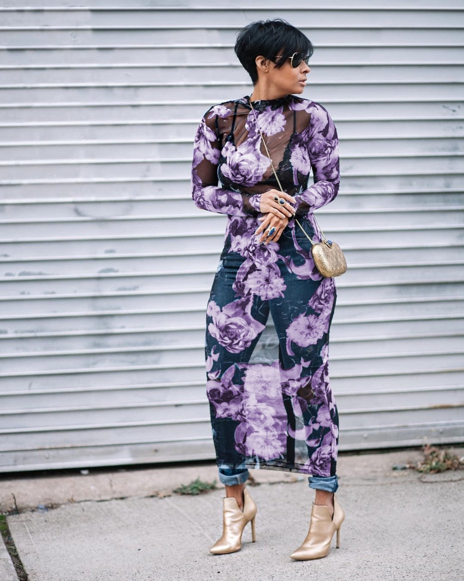 Floral Mesh Long Sleeve Maxi Dress - The JfJ
