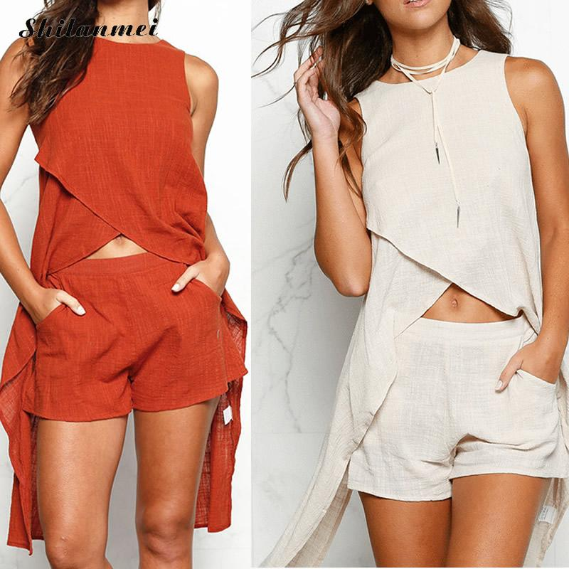 Two Piece Solid Long Blouses & Shorts Set - The JfJ
