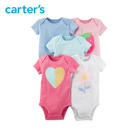 Carter's 5-Pack Girl Summer Short-Sleeve Bodysuits - The JfJ