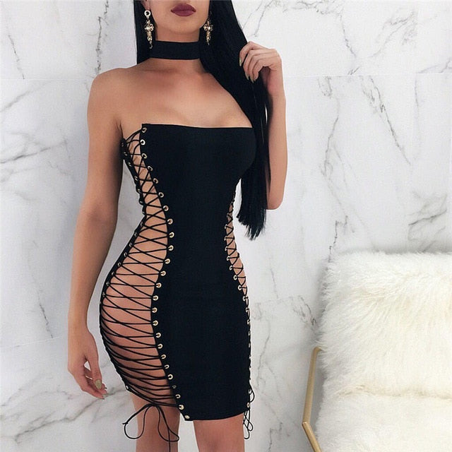 Black StraplessSleeveless Hollow Out Lace Up Mini Dress - The JfJ