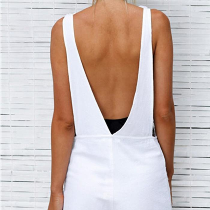Casual Backless Romper With Pocket - The JfJ