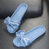Denim Butterfly Knot Slippers - The JfJ