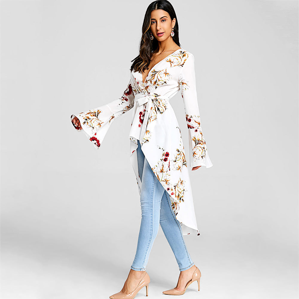 Bell Sleeve Floral High Low Fishtail Blouse - The JfJ