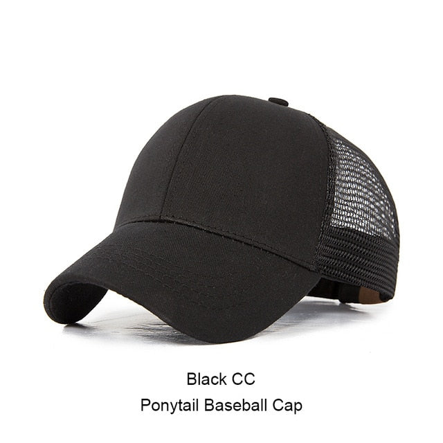 d9aca3e3e Womens Ponytail Messy High Buns Mesh Trucker Ponycaps Plain Baseball ...