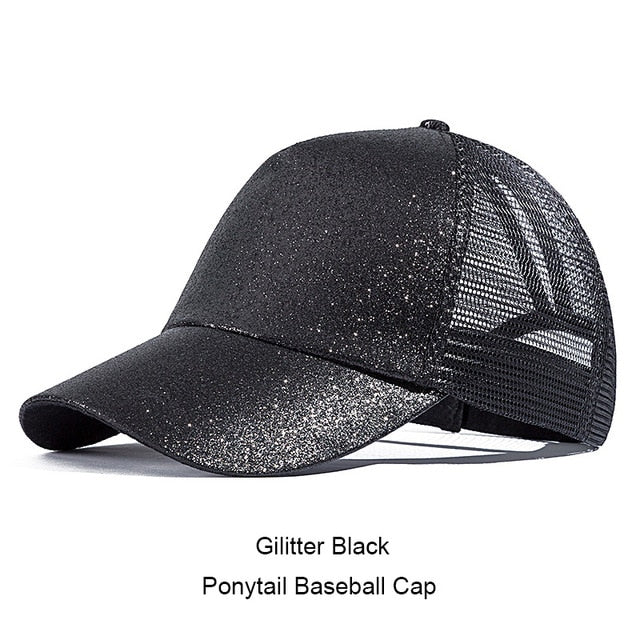 Womens Ponytail Messy High Buns Mesh Trucker Ponycaps Plain Baseball Visor Cap Dad Hat Adjustable Snapback - The JfJ
