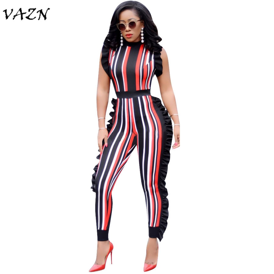Exotic Striped Ruffles Sleeveless Jumpsuits - The JfJ