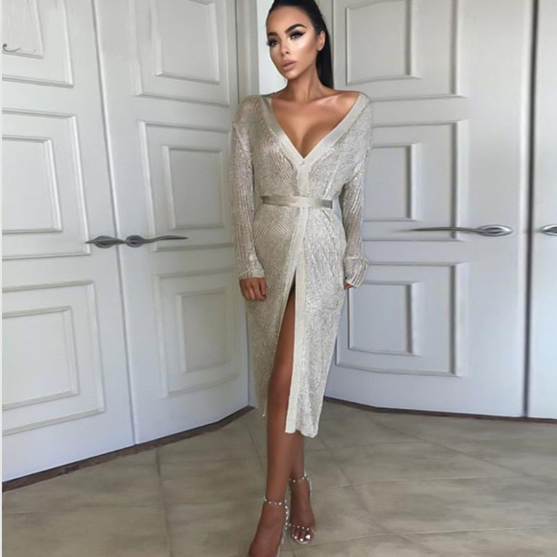 Gold Sexy Long Cardigan Sweater - The JfJ