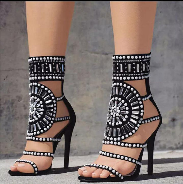 Ethnic Open Toe Rhinestone Design High Heel Sandals Crystal Ankle Wrap Diamond Gladiator Women Sandals Black The JfJ