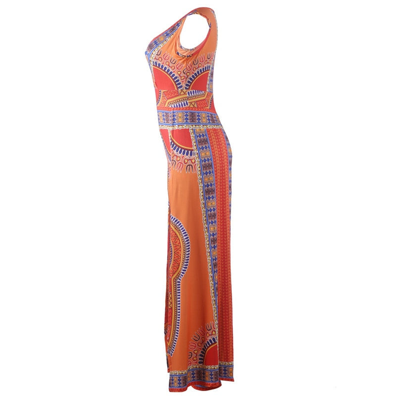 Ethnic African Print Jumpsuit Orange One Piece - The JfJ