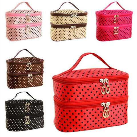 Cosmetic Bag  Double layer small dots   makeup tool storage - The JfJ