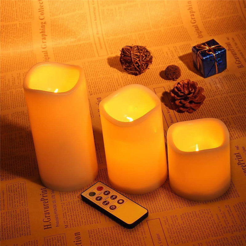 Romantic 3Pcs/set  wireless remote control  operated led flame-less candles - The JfJ