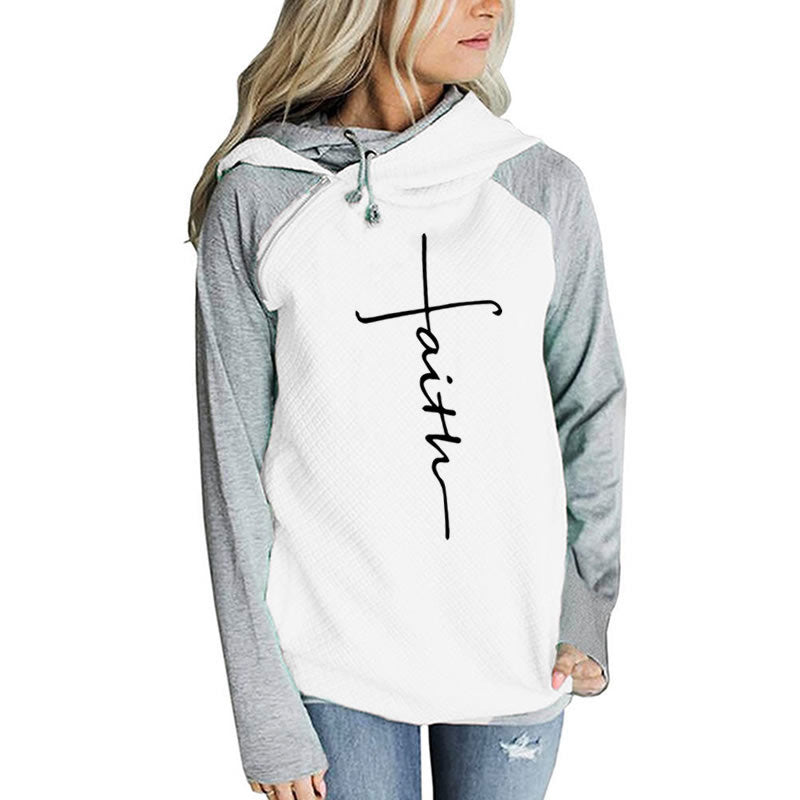 Autumn Long Sleeve Patchwork Hoodies Women Letters Faith Embroidered Pocket Sweatshirts Winter Female Fleece Warm Pullover Tops - The JfJ