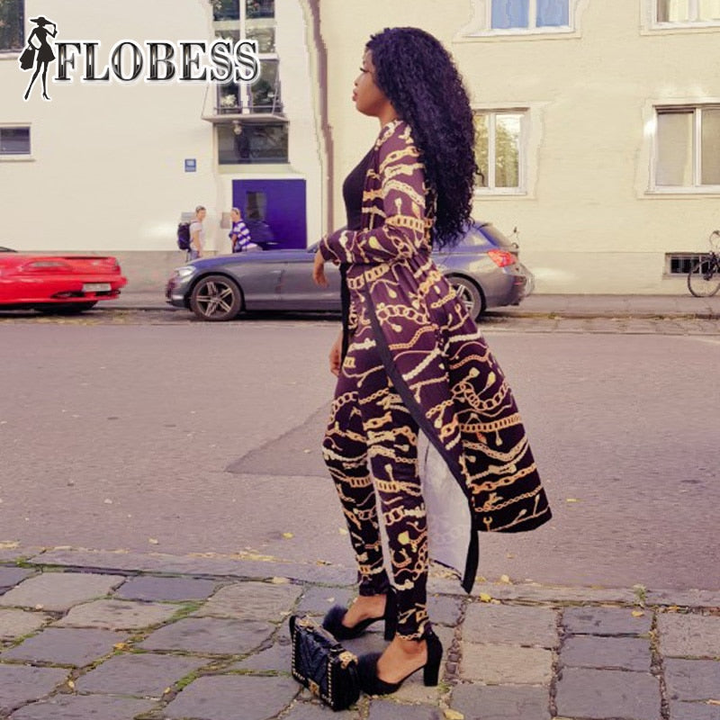 Gold Chain Print Two 2 Piece Set Long Pants - The JfJ