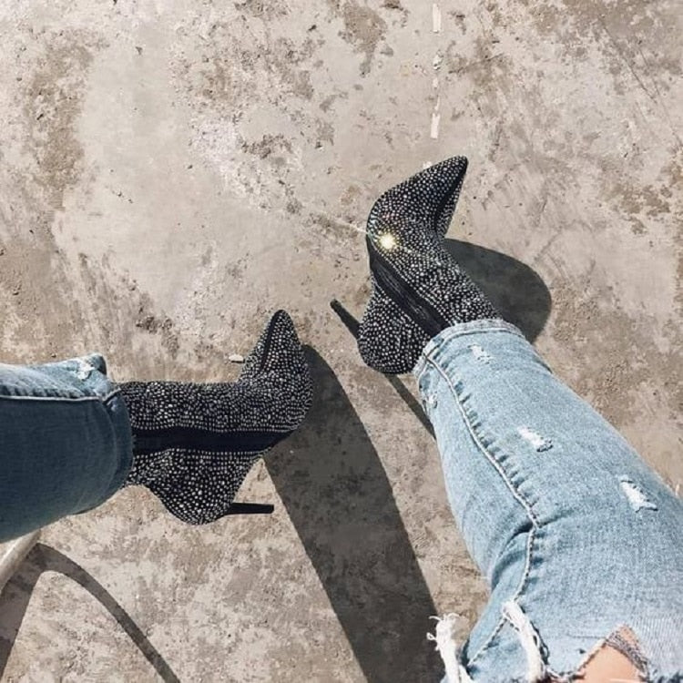 ANKLE BOOTS RHINESTONES HIGH HEELS SHOES WOMAN ZIP POINTED TOE SEXY MOTORCYCLE BOOTS - The JfJ