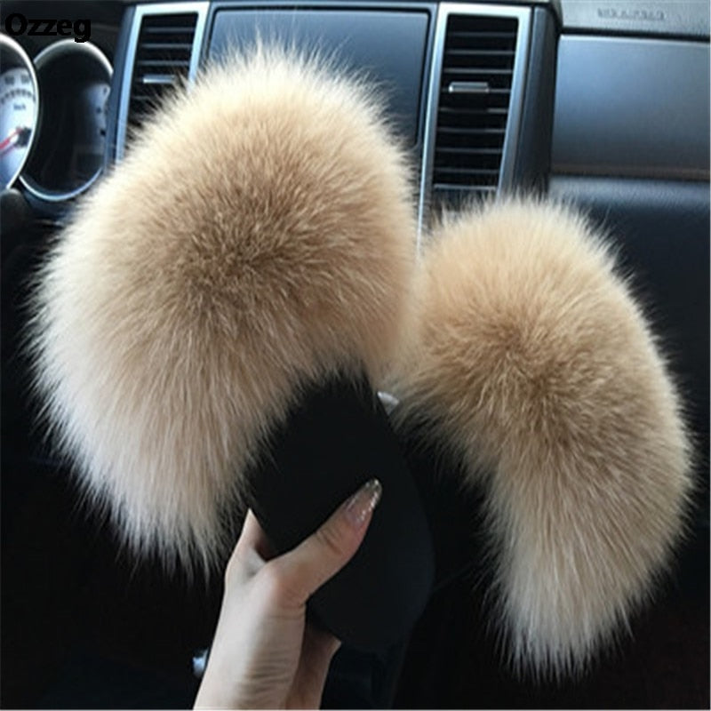 Plush Fox Fur Hair Fluffy Slippers - The JfJ