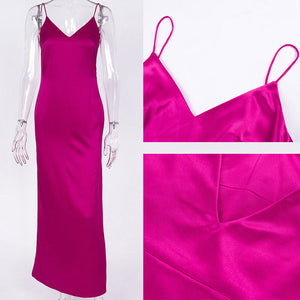 Satin Spaghetti Strap V Neck Maxi - The JfJ