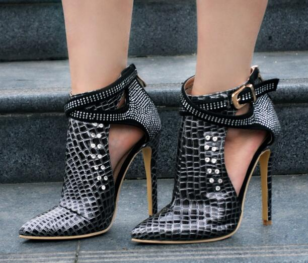 Maroon Stiletto Boots Crocodile Grain Rhinestone Fashion Boots