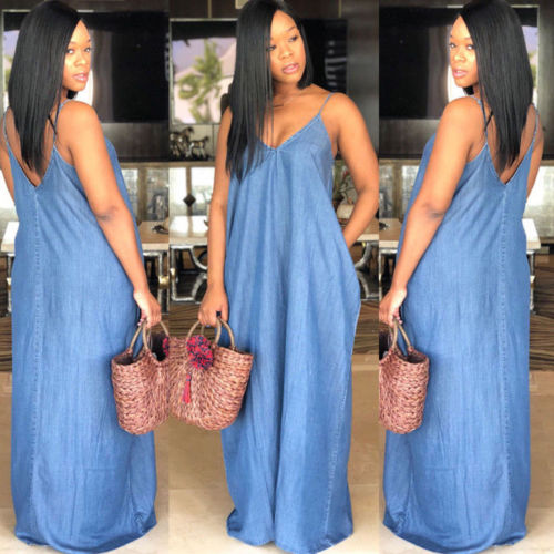 Boho Backless Long Denim Maxi Dress - The JfJ