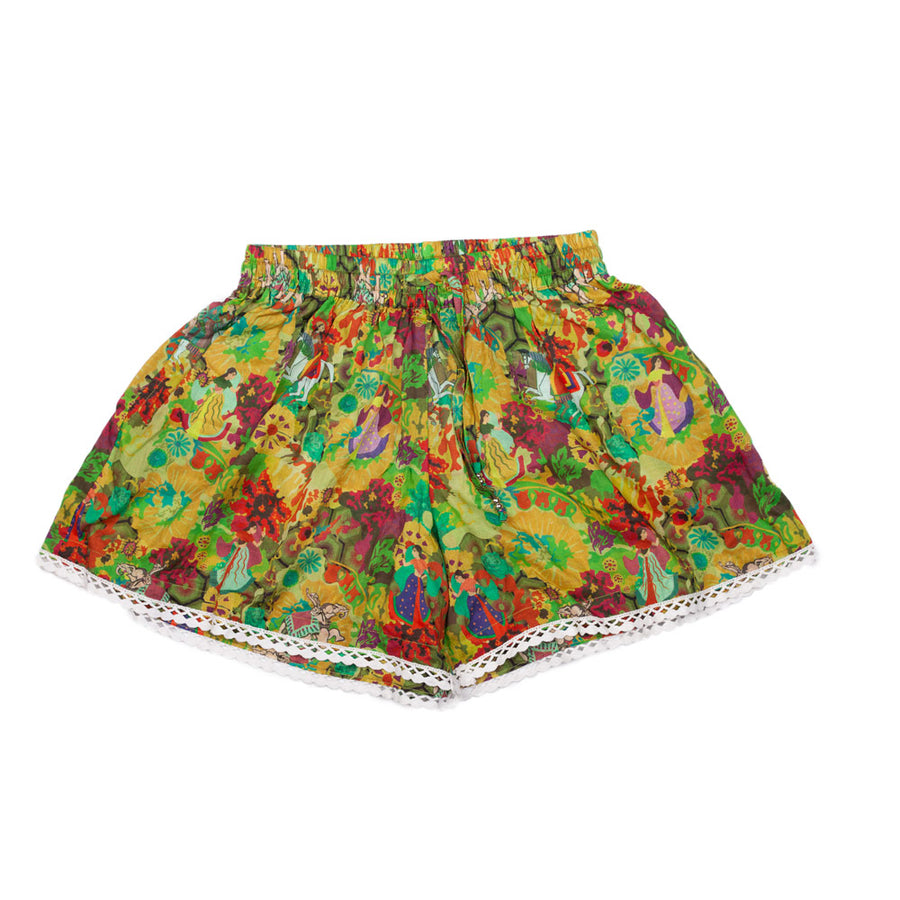 Ancient Circus Gold Cotton Shorts