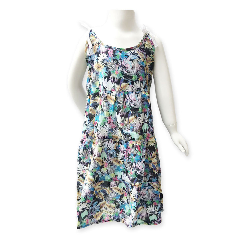 Tropical Bird Black Beach Dress