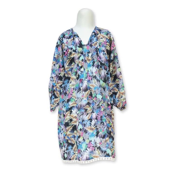 Tropical Bird Black Kaftan