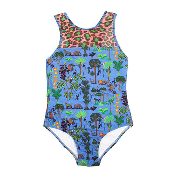 Blue Jungle Mesh One Piece