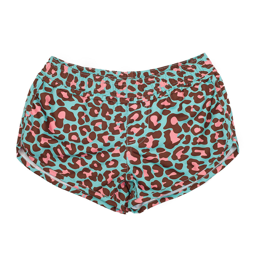 Pink Jungle Short Leg Board Shorts in Blue Leopard
