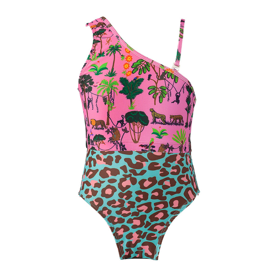 Pink Jungle One Shoulder One Piece