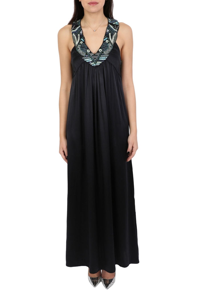 Long black silk dress-Washed And Found