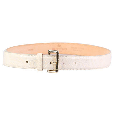 Paisley embossed ivory belt-Washed And Found