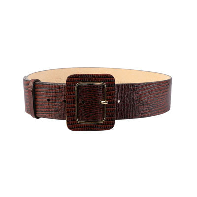 Brown textured leather belt-Washed And Found