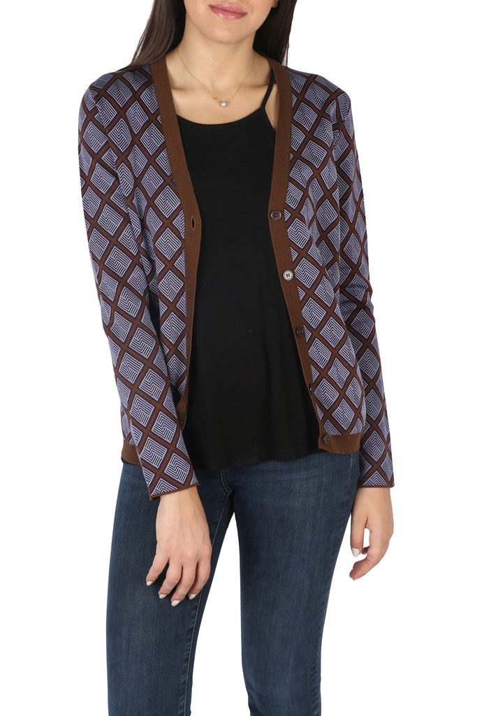 Checked silk-cotton blend cardigan-Washed And Found