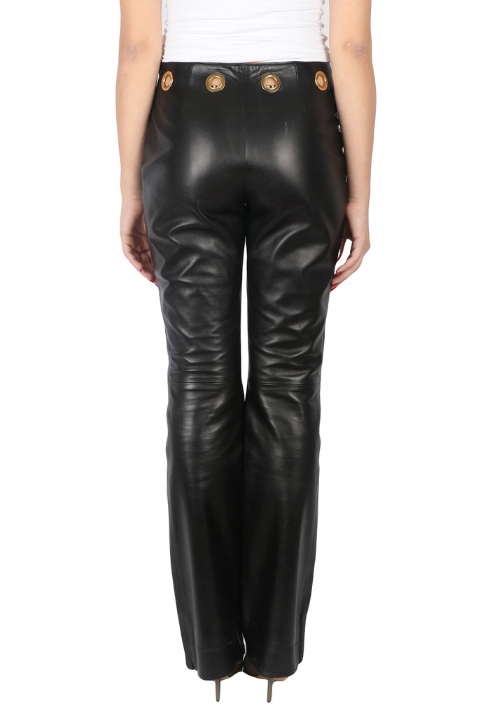 Black leather flared pants-Washed And Found