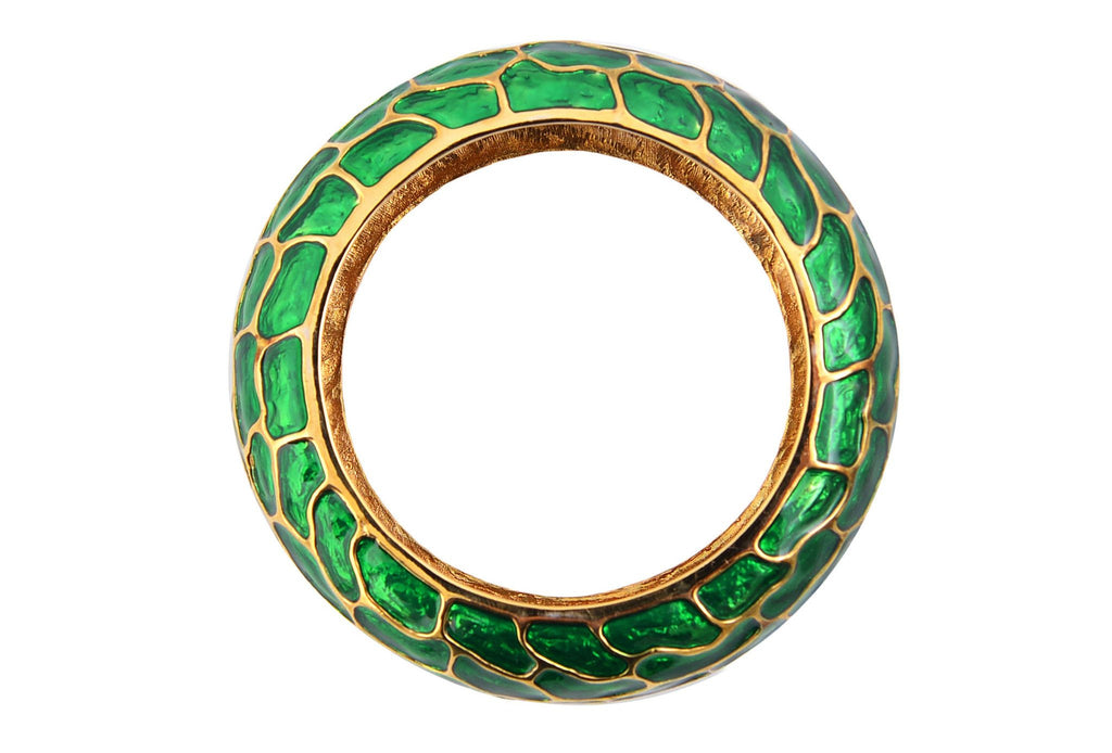 Gold-plated green bangle-Washed And Found