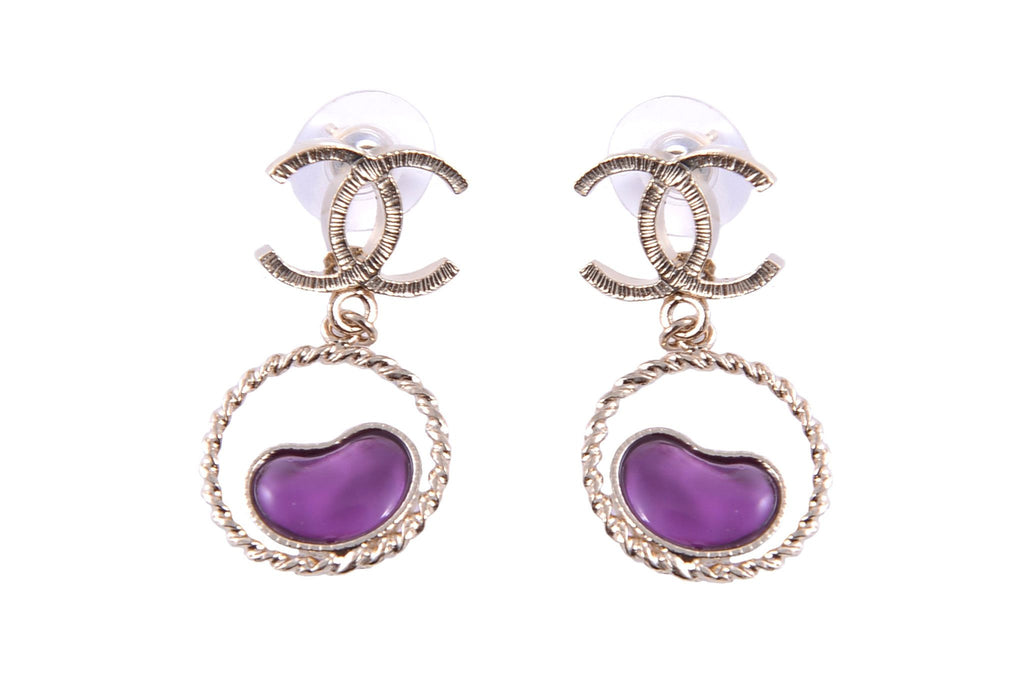 Purple heart drop earrings-Washed And Found
