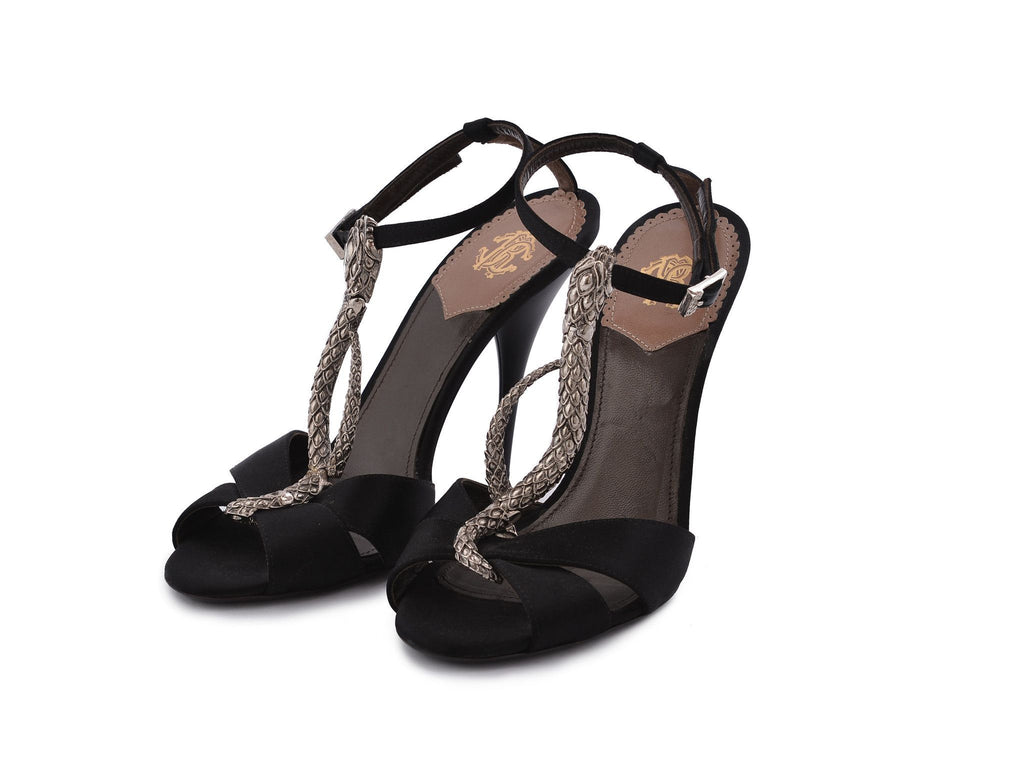 Snake T-strap sandals-Washed And Found