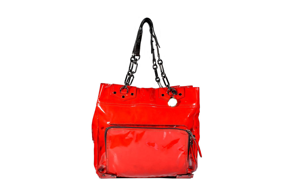 Patent red tote-Washed And Found