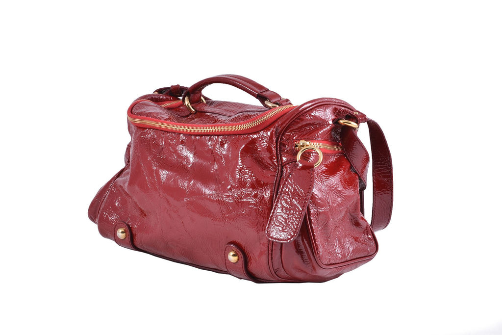 Vinyl red shoulder bag-Washed And Found
